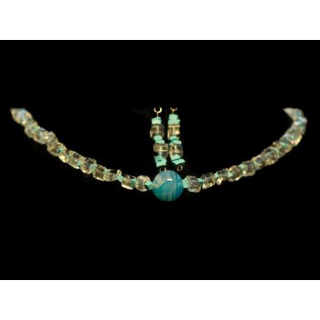 Krištáľ, tyrkys, achát - náhrdelník, náušnice