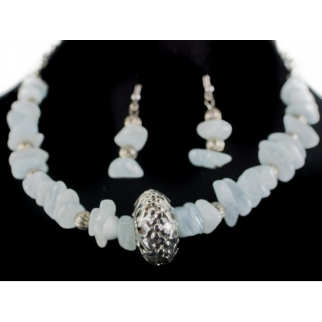 Akvamarín - náhrdelník, náušnice