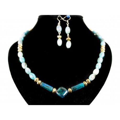 Čipkový achát - náhrdelník, náušnice