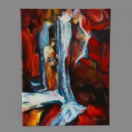 Obraz - Akryl na plátne - Pri vodopáde - Gabriela Žolnová
