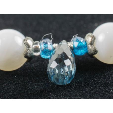 Topas, perleť, shell - náhrdelník, náušnice