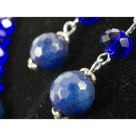Jadeit modrý facetovaný, swarovského krištále - náhrdelník, náušnice, náramok