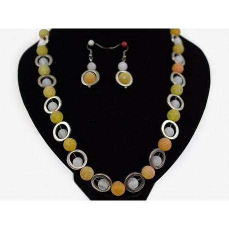 Achát praskaný - náhrdelník, náušnice