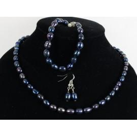 Čierne riečne perly - náhrdelník, náramok, náušnice