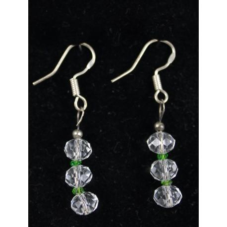 Tsavorit (zelený granát), swarovskéko guličky - náhrdelník, náušnice