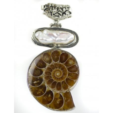 Amolita fosil, perla - prívesok