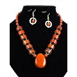 Červený jaspis - náhrdelník, náušnice