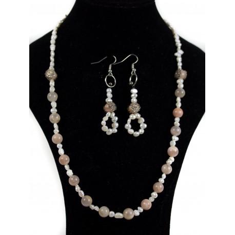 Perleť, slnečný kameň - náhrdelník, náušnice