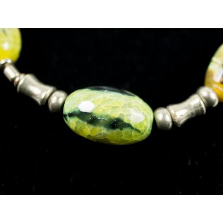 Achát, pyrit - náhrdelník, náušnice