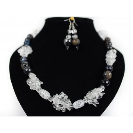 Achát, krištáľ - náhrdelník, náušnice