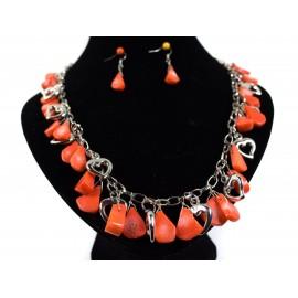 Ružový korál - náhrdelník, náušnice