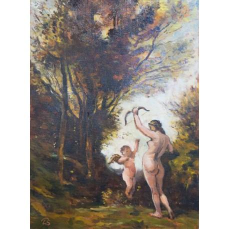 Akad. mal. Ľ. Studenniková - Nymfa hrajúca sa s Amorom - Corot replika