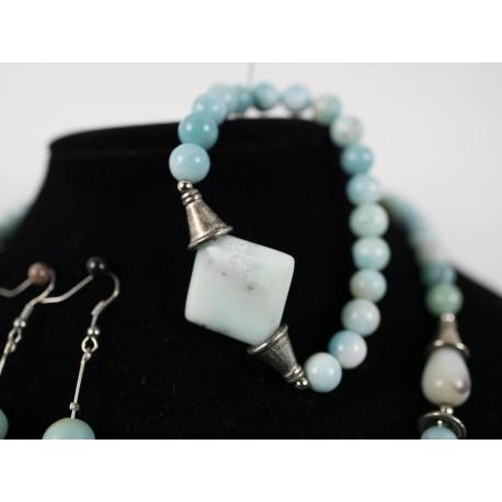 Amazonit - náhrdelník, náramok, náušnice