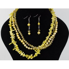 Žltá perla - náhrdelník, náušnice