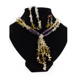 Cintrín a ametyst - náhrdelník, náramok, náušnice