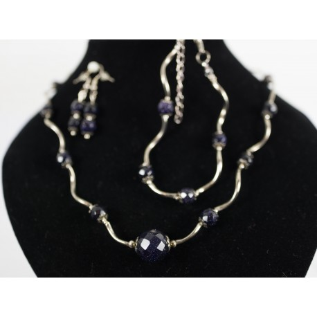 Avanturín (modrý, pieskový) - sklo - náhrdelník, náramok, náušnice