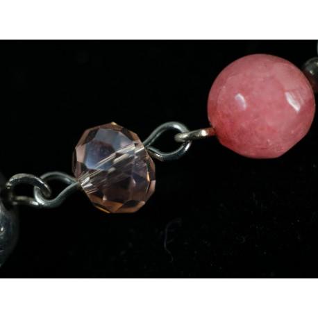 Jadeit, ruženín - náhrdelník, náušnice