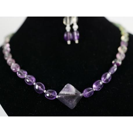 Fluorit - náhrdelník, náušnice