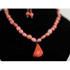 Koral - náhrdelník, náušnice