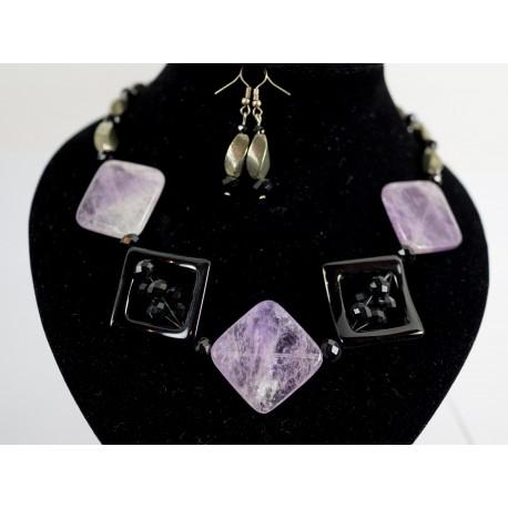 Ametrín, pyrit - náhrdelník a náušnice