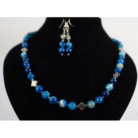 Modrý achát - náhrdelník a náušnice