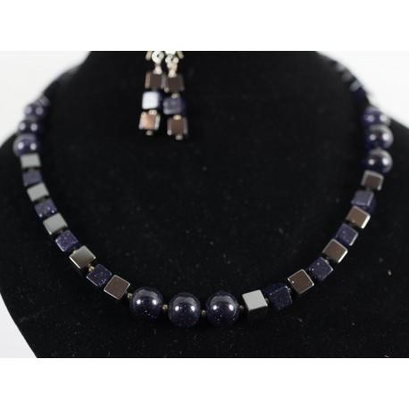 Hematit, modrý pieskový avanturín - náhrdleník a náušnice