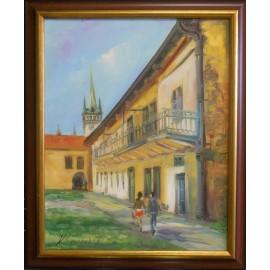 Obraz - Olejomaľba na plátne - Prešov - Pohľad zo Slovenskej ulice - Vladimír Semančík