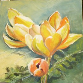 Obraz - Akryl na plátne - Žlté Krokusy - Mgr. Margita Rešovská
