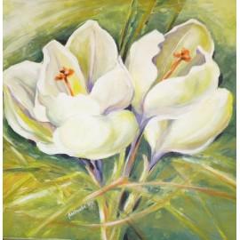 Obraz - Akryl na plátne - Biele Krokusy - Mgr. Margita Rešovská