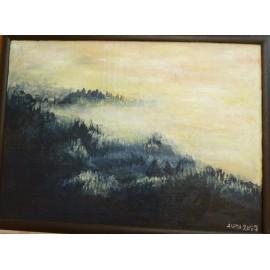 Obraz - Akryl na sololite - Krajina v hmle - Mgr. Aneta Hafincová