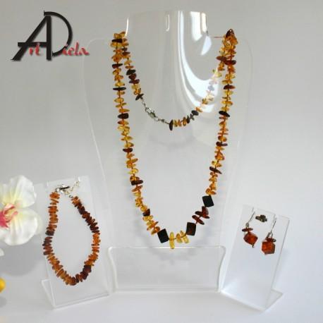 Jantár-náhrdelník, náušnice a náramok