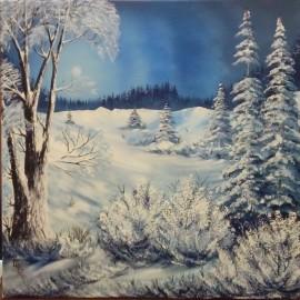 Obraz - Olejomaľba na plátne - Zima II - Ján Lupčo