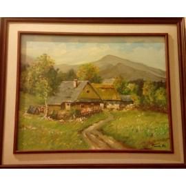 Obraz - Olejomaľba na plátne - Chalupa - Peter Treciak