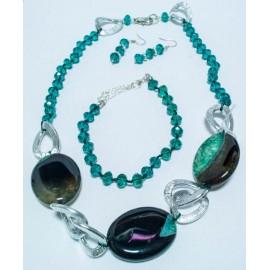 Achát-krištáľ zelený-náhrdelník, náramok a náušnice