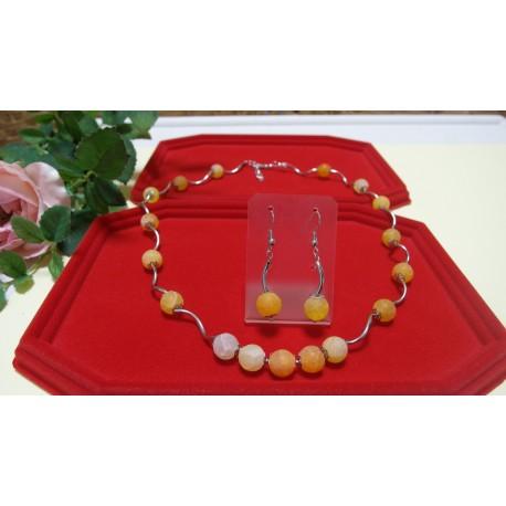 Achát-praskaný-náhrdelník a náušnice