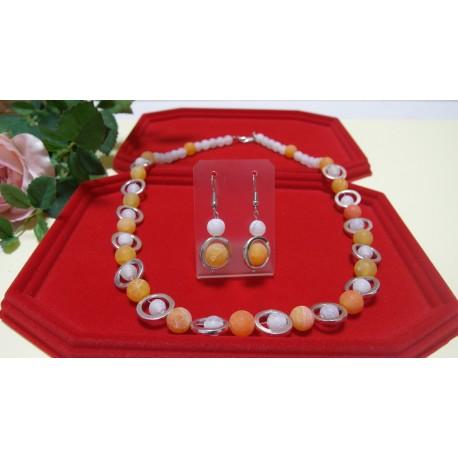 Achát praskaný-náhrdelník a náušnice