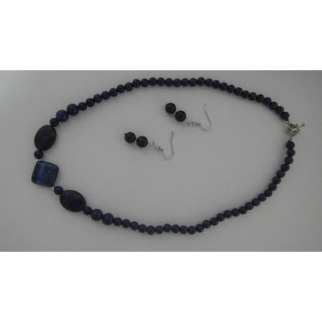 Lapis lazuli-náhrdelník a náušnice