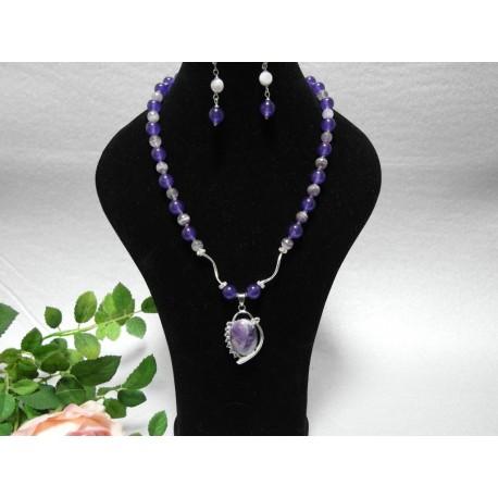 Ametyst a jadeit-náhrdelník a náušnice
