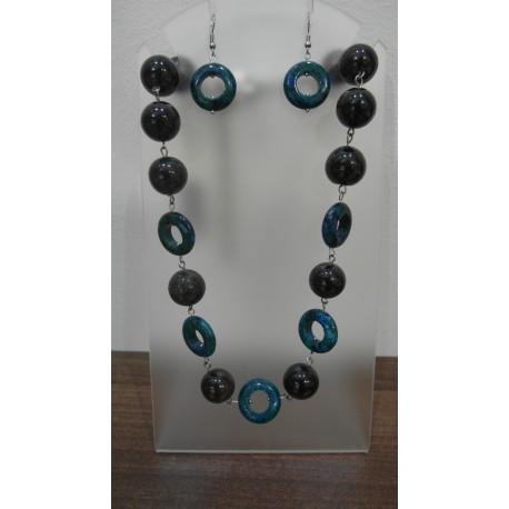 Azurit, granát-náhrdelník a náušnice
