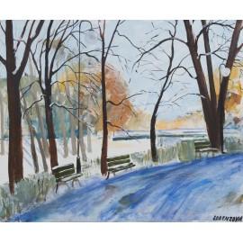 Obraz - Akryl - Zima v parku - Ing. arch. Eva Lorenzová