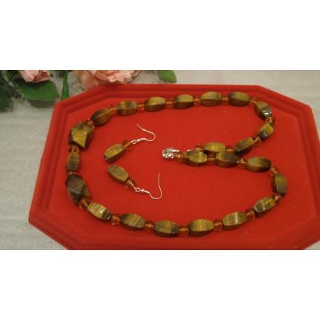 Tigrie oko- náhrdelník, náušnice