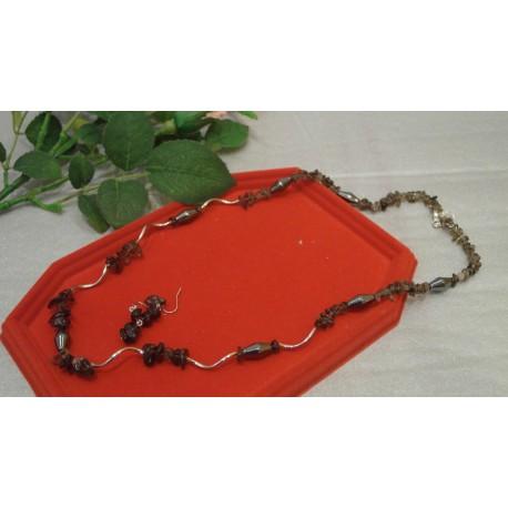 Hematit, záhneda - náhrdelník, náušnice