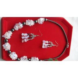 Opalit a hematit -náhrdelník-náušnice
