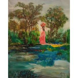 Obraz - Akryl na plátne - Dáma pri jazierku - Alexander Orlík