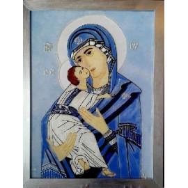 Obraz - Maľba na sklo - Madona s dieťaťom - Jana Gubová