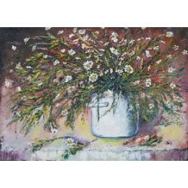 Obraz - Olejomaľba - Kvety v bielom hrnci - Viliam Volk