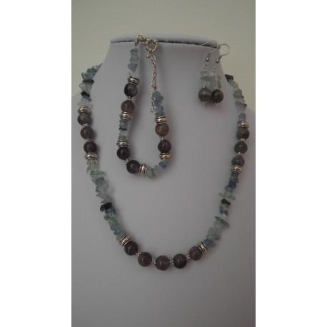 Fluorit-ametyst-náhrdelník-náramok-náušnice