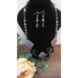 Ametrín-pyrit-ametyst-náhrdelník-náušnice
