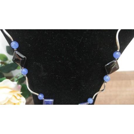 Lapis lazuli-jadeit-ónyx-náhrdelník-náušnice