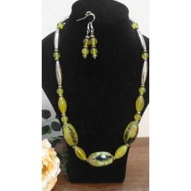 Serafinit-pyrit-achát-náhrdelník-náušnice